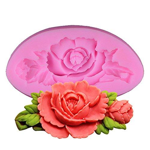 Demarkt Molde Rosa Forma Bricolaje Fondant Molde de Silicona Forma con 3D Para Fondant Tarta Molde de Repostería Para Horno 1PCS