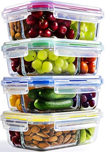 Preisvergleich Produktbild Glasbehälter mit Deckel Set (4er Pack-1040ml) / Meal Prep Vorratsdosen luftdicht mit 3-Fach Behalter aus Glas / Frischhaltedosen perfekt als Vorratsbehalter fur Ofen,  Mikrowelle,  Gefrierschrank