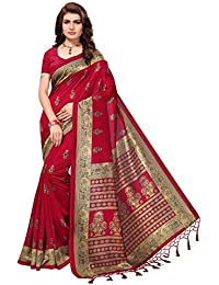 Ishin Poly Silk Red Printed Women's Sarii/Saree With Tassels