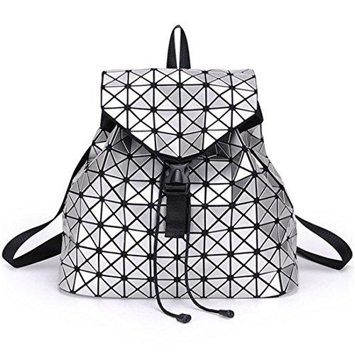 (Mode Nachtleuchtende Frauen Rucksack Diamantgitter Tasche Hologramm Tasche Reise Geometrische Teenager Schule Leuchtenden Rucksack Gray)