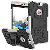 Heartly Coolpad Max A-8 Back Cover Kick Stand Rugged Shockproof Tough Hybrid Armor Dual Layer Bumper Case - Best White