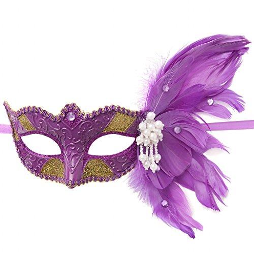 sarahbridal Frauen 'S Feather Masquerade Masken Pailletten Halloween Ball Party Ball Kostüm venezianischen Eye Masken MJ026 (Cher Halloween Kostüme)