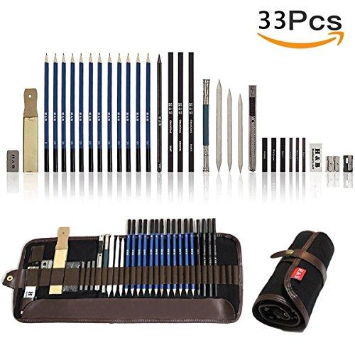 33 Stück Bleistift Set, Lypumso Skizzierstifte Set Bleistifte für Skizzieren und Zeichnen Profi...