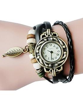 Upxiang Frauen Kinder Retro Leather Winding Armband, Blatt Anhänger Uhr, Damenuhr, Damen Herrenuhr, Damen Watches...