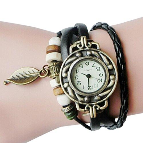 Upxiang Frauen Kinder Retro Leather Winding Armband, Blatt Anhänger Uhr, Damenuhr, Damen Herrenuhr, Damen Watches, Uhren (Schwarz)