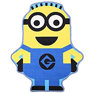 Official Despicable Me Minion Shaped Rug Bedroom Floor Mat 80 x 100 cm, Blue & Yellow by Minion