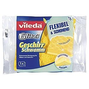 Vileda Glitzi Geschirrschwamm – Schonende Reinigung von Gläsern und Geschirr, 1er Pack