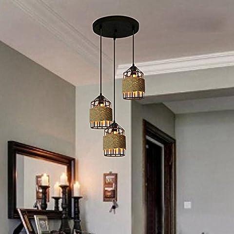 BJVB Jaula de cuerda de cáñamo colgante Lámpara jaula colgante 3 luces techo lámpara
