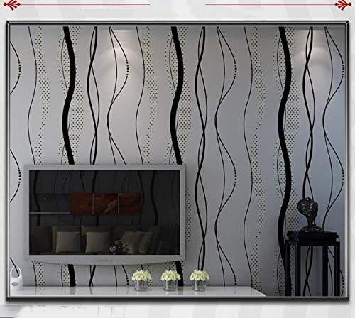 Wallpaper FANGQIAO SHOP Tapeten-moderner minimalistischer nichtgewebter Wellen-Muster-Tapete Stereoeffekt-Nachtwand-Hintergrund-Wand-Schlafzimmer-Tapete (Color : Black Gray, Size : 53 * 1000cm) (Halloween-handwerk Kleber Einfach Kein)