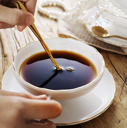 YBK Tech Euro Style Tasse & Untertasse Set Art Bone China Keramik Tee Kaffee Tasse für Home Küche (Trim China Bone Gold)