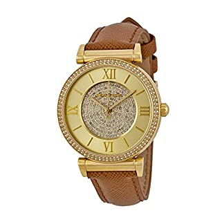 Micahel Kors #MK2375 Women's Catlin Gold Tone Crystal Pave Leather Band Watch