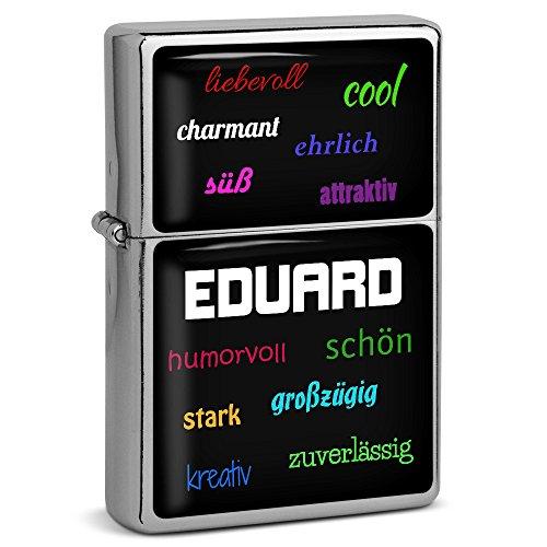PhotoFancy® - Sturmfeuerzeug Set mit Namen Eduard - Feuerzeug mit Design Positive Eigenschaften - Benzinfeuerzeug, Sturm-Feuerzeug