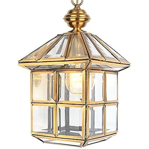 YUENLONG Le lampade in ottone che fa aderire il corridoio balcone lampadari appesi all'aperto lampadari all'aperto unica testa lampadari catena di sollevamento lungo 50cm regolabile 1 luci alta larghezza di banda 20cm 30*
