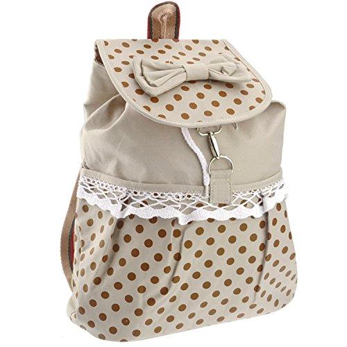 Preisvergleich Produktbild Schule Freizeit Rucksack Tasche Süßer Stil Leinwand-Umhängetasche Mit Punkte Und Spitzen-Design Beige