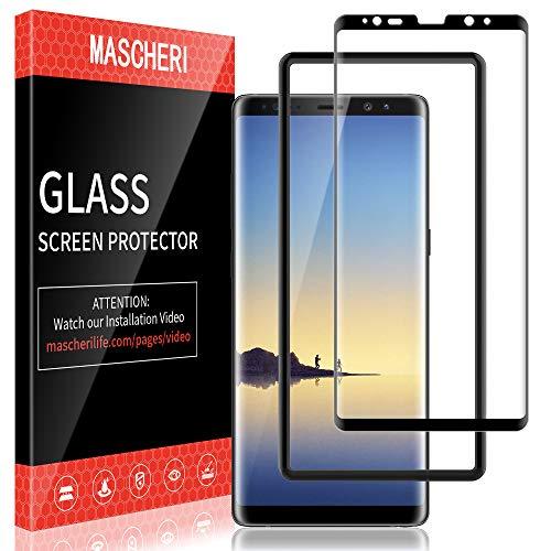 MASCHERI Schutzfolie für Samsung Galaxy Note 8 Panzerglasfolie, [3D Abger&ete] [Vollständige Abdeckung] [Ausrichtungsrahmen Einfache Installation] Gehärtetem Glas Bildschirmschutzfolie - Schwarz