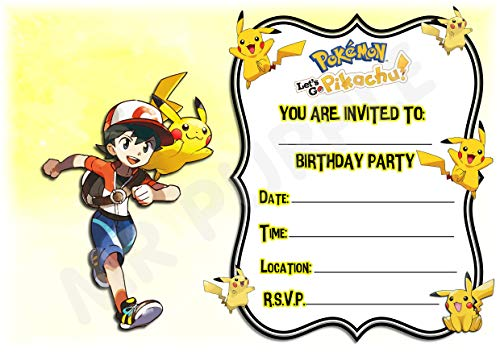 Pokemon Lets Go Pikachu Geburtstagsparty-Einladungen - Pikachu Querformat Rahmen Design - Partyzubehör (Packung mit 12 Einladungen im A5-Format) WITH Envelopes