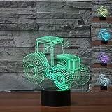 3D Traktor Optische Illusions-Lampen, Tolle 7 Farbwechsel Acryl berühren Tabelle Schreibtisch-Nachtlicht mit USB-Kabel für Kinder Schlafzimmer Geburtstagsgeschenke Geschenk
