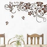 Jixiaosheng Diy Braune SchmetterlingBlume Reben Wandaufkleber WohnkulturWohnzimmer Kühlschrank Kunst WandtattoosInnendekoration 33 * 60 Cm