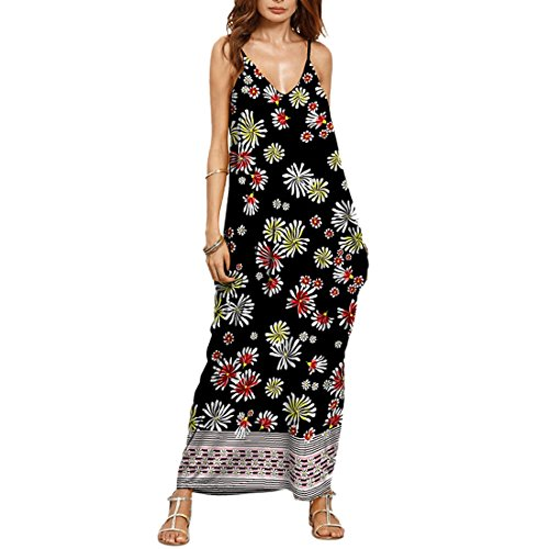 QIYUN.Z Femme V-Cou Spaghetti Sangle Sans Manches Plage Backless Sundress Longue Maxi Robe Photo Couleur 12