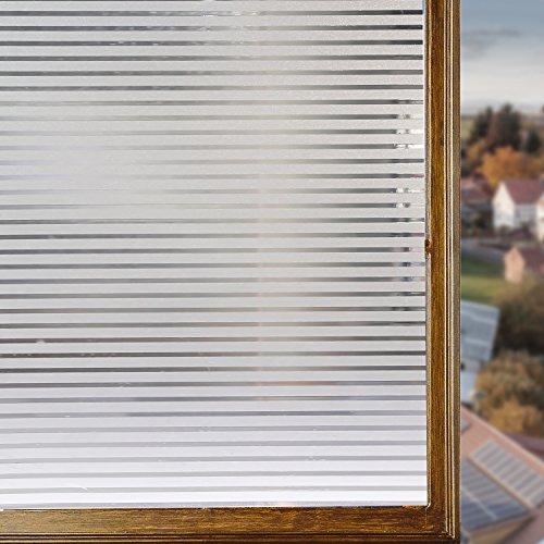 Housolution 2D Fensterfolien, No-Kleber statische Dekor Privatsphäre PVC Fensterfolien nicht-klebende Mattglas Aufkleber Hitzesteuerung Anti UV Schutzhülle , Streifen (79 x 18 IN) (Abnehmbare Fenster-folie)