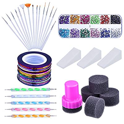 Nail Arts Kit with Nail Art Brushes, 12 Colors Nail Rhinestones, 2 Way Dotting Pen, Assorted Colors Nail Striping Tape and Gradient Nails Sponge