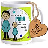 TIED RIBBONS Fathers Day Gifts From Daughter | Gift For Dad | Fathers Day Special Gifts | Printed Coffee Mug With Wooden Tag