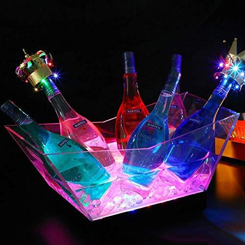 JTHAO LED Eiskübel Farbwechsel Kühler Eimer - 7 Farbwechsel Lichter - Acryl - Akku - Bar, Nachtclub, Party Ideal Für Wein, Champagner, Cocktails, Bier -