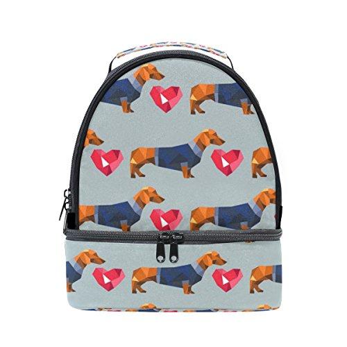 coosun Dackel Hund Polygon Isolierte Lunch Bag Dual Deck Lunch Cooler Tasche Griff mit verstellbarem Gurt für Damen Herren Teens Jungen Mädchen -