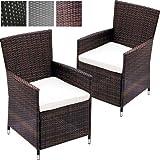 Miadomodo sedia poltrona giardino sedia rattan esterno nel set da 2 pezzi marrone