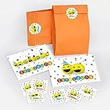 12 Einladungskarten + 12 Umschläge + 12 Tüten / orange + 12 Aufkleber zum Kindergeburtstag für Mädchen und Jungen