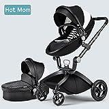 Hot Mom Limited Edition Kombikinderwagen und Buggy Sportwagen 3-in-1 Travelsystem 2017 mit Babywanne ,Schwarz