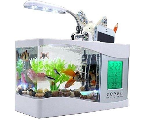 Preisvergleich Produktbild Anself Mini USB-LCD Desktop Lampe Licht Fisch Tank Aquarium LED Uhr wei mit 6 Modi des ruhigen Naturgerusche, Ornamente Aquarium.