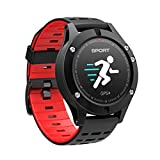 DIGGRO DB-05 GPS Smart Bracelet Coloré Altimètre Baromètre Thermomètre GPS Intégré Mode Multi-sports Cardiofrequence Rappel Message&Appel pour iOS Android- Rouge