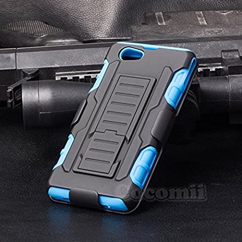 Sony Xperia Z1 Compact Coque, Cocomii Robot Armor NEW [Heavy Duty] Premium Belt Clip Holster Kickstand Shockproof Hard Bumper Shell [Military Defender] Full Body Dual Layer Rugged Cover Case Étui Housse D5503 (Blue)