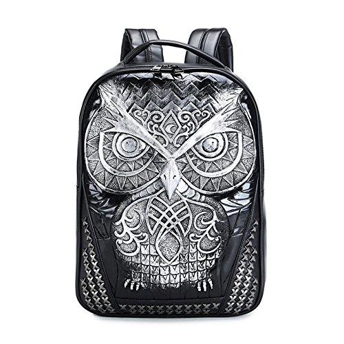 DWB Pu Art und Weise sports Rucksack / Owl 3d Tierkopf / Student Computer-Tasche Silver