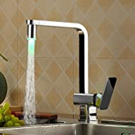 bobo Chrome Finish Kitchen Faucet with Color Changing LED Light