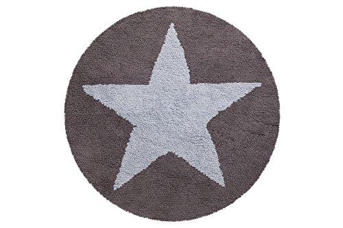 Alfombra reversible Lorena Canals redonda de estrella, color azul, gris oscuro