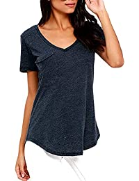 Y-BOA Top Femme Blouse Casual Col V Basic T-Shirt Manche Courte
