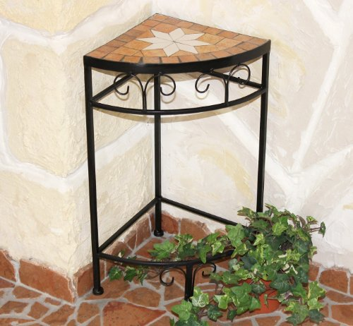 Merano 12013 Flower Stand / Corner Table with Mosaic Tabletop 52cm