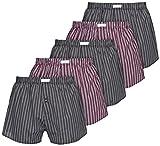 Boxon Boxershorts aus 100% Baumwolle - Web-Boxer gestreift oder kariert - 5er Pack, Mehrfarbig (Gestreift), Gr. Medium