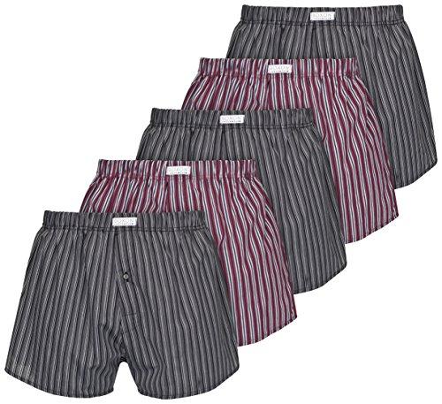 Boxon Boxershorts aus 100% Baumwolle - Web-Boxer gestreift oder kariert - 5er Pack, Mehrfarbig (Gestreift), Gr. Medium (Baumwolle Gestreift Shorts)