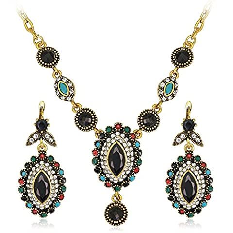 Boucles d'oreilles Collier deux pièces de bijoux rétro personnalité de
