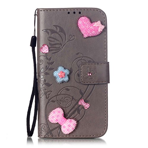 "Mk Shop Limited Coque iPhone 4 4S , PU Cuir Diamant Housse Fleur Style"" de Gaufrage Motif Motif Coque Flip Wallet Etui avec Lanyard Protection Stand Fonction Cover Case Card Slots Book Style Coque Mag Multi-couleur 7"
