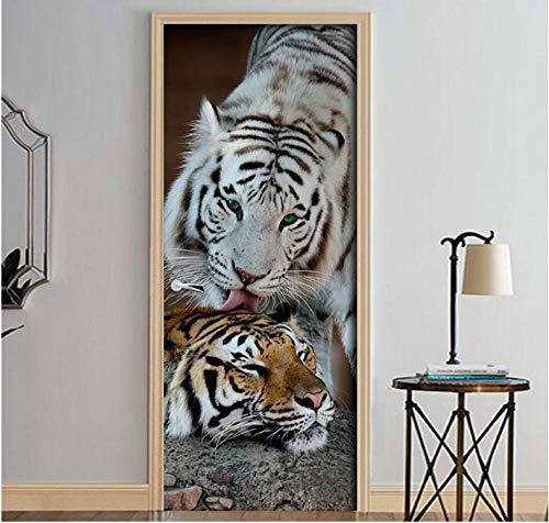 Folie Two Tigers Animal King Door Stickers Wallpaper For Living Room Bedroom Door Wallpaper Art Wall Decals Mural Wall Sticker Tiger Wallpaper Set