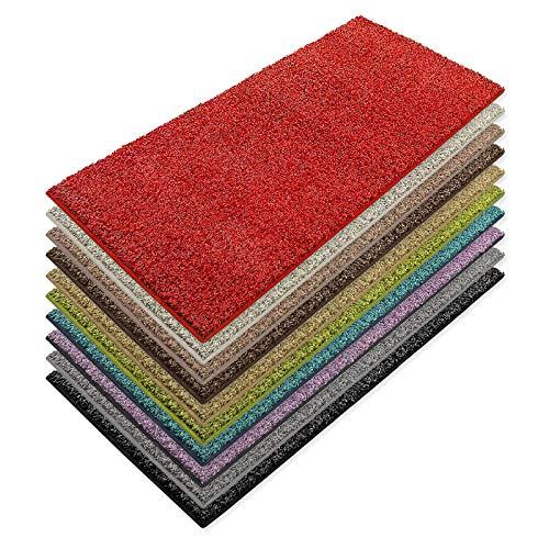 Teppich Läufer Luxury | moderne Shaggy Optik mit flauschigem Hochflor | Teppichläufer in vielen Farben für Flur, Schlafzimmer, Wohnzimmer etc. | viele Breiten und Längen (80 x 200cm, rot)