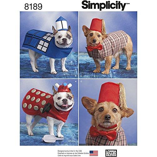 Simplicity Muster 8189Hund Kostüme in DREI Größen, weiß