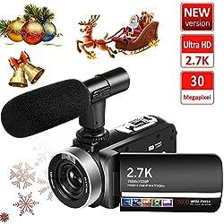 Caméscope 2.7K Camescope 30MP Numérique Camescope Full HD avec Microphone Télécommande Appareil Photo Numérique Écran Tactile Rotatif et Webcam Fonction
