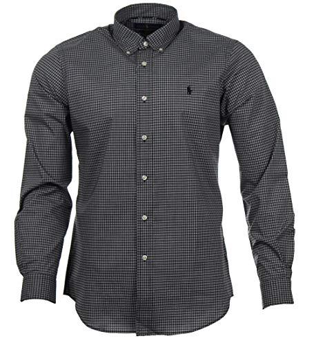 Ralph Lauren Classic Fit Langarm Hemd - Schwarz/Weiß kariert (Schwarz, L) - Shirt, Ralph Lauren Classic-fit