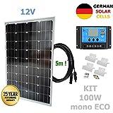 Kit 100W ECO 12V panel solar monocristalino células alemanas