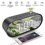 Reloj Despertador Digital Radio FM LED Alarma Inteligente Función Snooze Brillo Ajustable Temperatura 6,5 pulgadas Pantalla USB Puertos